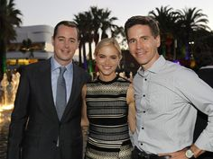 Sean Murray, Emily Wickersham and Brian Dietzen pose for a photo on the red carpet at the 2014 TCA's after party.