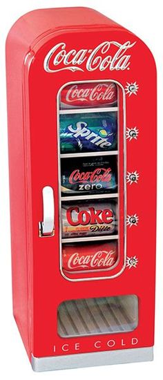 This small, Coca-Cola-branded beverage refrigerator is perfect to keep drinks chilled and ready to drink in your family room, man cave, or even office.  The Coca-Cola Vending Fridge holds 10 12-oz …