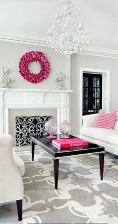 Love gray and pink. Hate the rug but the light is pretty and I need the fireplace