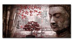 lH_2018.3_R Cuadro Paisaje con Buda y letras Japonesas Rojo