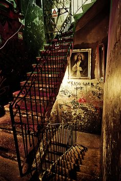 Stairs in a quite special bar in Budapest : The Szimpla Kert - want to go here!