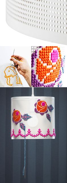 DIY embroidery lamp. Love this! -- Ooohh, I can feel the DIY coming over me with possibilities!