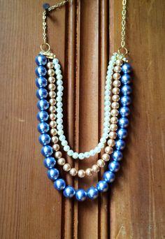Triple-Strand Chunky Pearl Statement Necklace Bib by JewelrybyRJ
