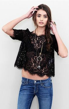cute lace top, would be great paired with a tank.. black, of course, or maybe pink?