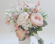Pink and Cream Rustic Wedding Bouquet Pink por blueorchidcreations