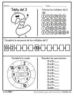 Operaciones de la tabla del 2   Árbol ABC Teaching Subtraction, Math Multiplication, Teaching Math, Homeschool Worksheets, Math Resources, Math Activities, Math Sheets, English Lessons For Kids, Bookmarks Kids