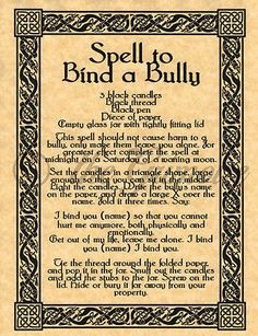 Spell to Bind a Bully, Book of Shadows Spells Page, Witchcraft, Wicca, Pagan