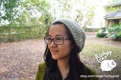 Knitted Light Moss Green Slouchy Hat