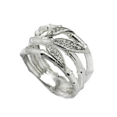 Bamboo Leaves Women's Ring with Zircons Sterling Silver 925 925 Silver, Sterling Silver Rings, Dragon Ring, Tropical Style, Black Enamel, Rings For Men, Bamboo Leaves, Wedding Rings