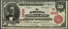 u.s. fifty dollar bill | The 1903 Fifty dollar bill national currency note was issued between ...