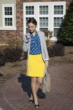 yellowskirtlook fashion blogger blogger style  office look
