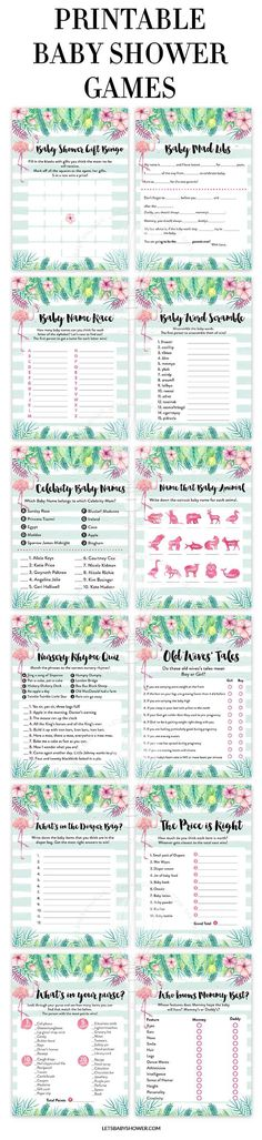 Tropical Flamingo Baby Shower Game Pack Looking for a Baby Shower theme for Girls? Here's one of the baby shower ideas your guests will surely enjoy. Tropical Flamingo Baby Shower Games for Girls Baby Shower Brunch, Baby Shower Games, Baby Shower Parties, Baby Showers, Baby Shower Checklist, Baby Shower Printables, Baby Shower Invitations, Free Printables, Invites