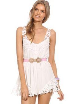 White Plain Lace Buttons Shoulder-Strap Short Jumpsuit
