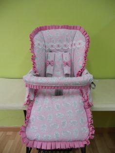 Saco para inglesina realizado en toile de jouy rosa y gris con pasacintas en ondas de tira bordada