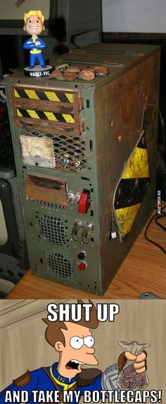 Building A Gaming Pc 476537204292505966 - Fallout Computer Case Mod. Been wanting to do this for a while……. Source by Pejii Fallout Art, Fallout New Vegas, Fallout Posters, Fallout Funny, Video Game Memes, Video Games, Arcade, Vault Tec, Custom Pc