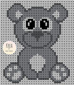Bear perler bead pattern by Anja Takacs Melty Bead Patterns, Pearler Bead Patterns, Perler Patterns, Pearler Beads, Beading Patterns, Crochet Patterns, Pixel Crochet Blanket, Hama Beads Design, Perler Bead Art