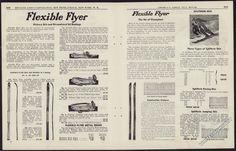 1942 FLEXIBLE FLYER Skies & Ski Bindings 2-page, centerfold AD Old Advertising