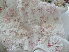 Rose Yo Yo Quilt...vintage chenille coverlet