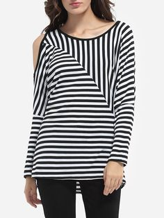 Batwing Loose Fitting Round Neck Dacron Striped Long-sleeve-t-shirts #Fashion, #LongSleeveTShirts, #Tops, #Womens