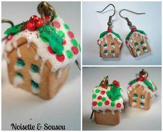 Les maisons du Bonheur en gâteau aux couleurs de Noël : Boucles d'oreille par noisette-sousou