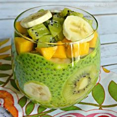 Green Chia Pudding with fruit topping