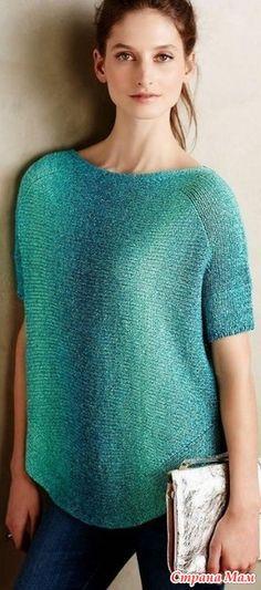 Пуловер связанный поперек спицами - Вязание - Страна Мам
