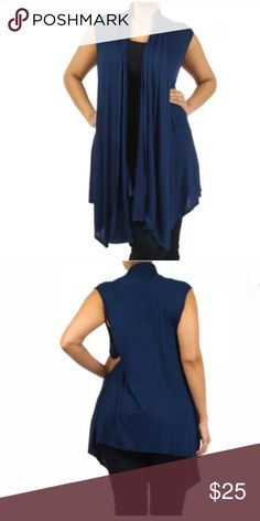 Plus Navy Sleeveless Cardigan Wrap Vest NEW A MUST HAVE!!  Featuring a soft rayon spandex open sleeveless cardigan vest. Flowly asymmetrical cut. Ruched at the top in the backside. This top can pretty much be layered over almost anything.   Made of: 94% Rayon & 6% Spandex Tops