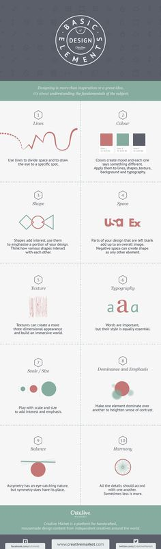 Infographic: 10 Basic Elements of Design https://creativemarket.com/blog/2015/05/01/infographic-10-basic-elements-of-design?utm_content=buffer730e9&utm_medium=social&utm_source=pinterest.com&utm_campaign=buffer