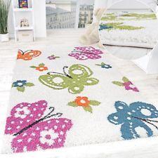 Luxury Kinderzimmer Shaggy Teppich Schmetterlinge Kinder Teppich Hochflor Creme Bunt