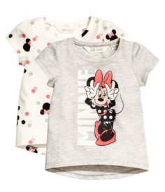 Light gray/Minnie Mouse. Short-sleeved tops in cotton jersey with a printed design.