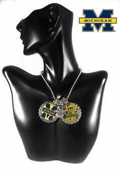 Michigan wolverines bottle cap necklace
