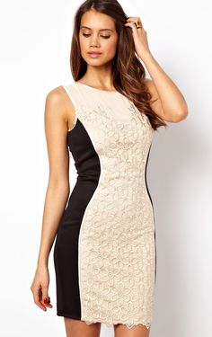 White Contrast Black Panel Sleeveless Floral Embroidery Dress