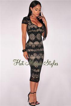 Black Sweetheart Neckline Nude Illusion Padded Midi Dress