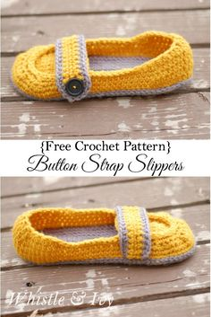 Free Crochet Pattern - Women's Button Strap Slippers. These cozy slippers are so cute and cozy. Perfect for you, and a gift for someone else! {Pattern by Whistle and Ivy}