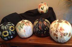 Fall pumpkins, handpainted