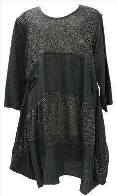 AKH Fashion Lagenlook ausgefallene Leinentunika Leinenkleid in schwarz XL Mode bei www.modeolymp.lafeo.de
