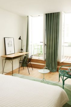 You may feel super calm because you're on vacation—but if you're staying at the Hotel des Galeries in Brussels it could also be the soothing green details in the rooms designed by Fleur Delesalle and Camille Flammarion that are making you feel so cozy. Try this color in your own bedroom to recreate that blissful vacation feeling.