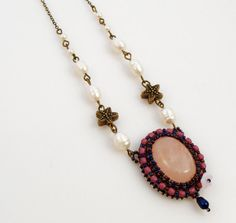Pink Quartz Gemstone Necklace Victorian by ThezoraArtBijoux D:\Documente\desktop\Margele\Poze bijuuri\23.01.2013