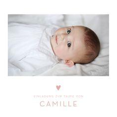 Mit der Taufeinladung Elegant Herz Foto wählen Sie eine wunderschöne, schlichte Einladungskarte zur Taufe, die durch kleine Details einen Hauch von Eleganz ...