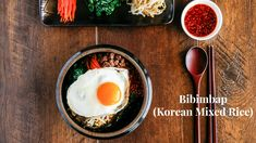 Bibimbap - Korean Mixed Rice with Meat and Assorted Vegetables, This is one of the most popular recipe on my website! Try it. You'll love it. Detailed recipe...
