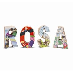 Love these letters covered with children's book illustrations.