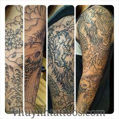 """#koi #dragon #ryu #outline #sleeve Vhuynhtattoos.com This dudes first tattoo. #japanese #tattoohistory #irezumi #tattoo #wabori #waves #cherryblossom…"""