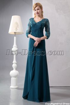 1st-dress.com Offers High Quality Pretty Hunter Green Lace Long Sleeves Mother of Groom Gown,Priced At Only US$165.00 (Free Shipping)