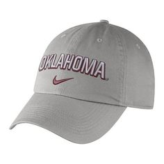 Nike Men's University of Oklahoma Heritage86 Wordmark Swoosh Flex Cap (Grey, Size One Size) - NCAA Licensed Product, NCAA Men's Caps at Academy Sports