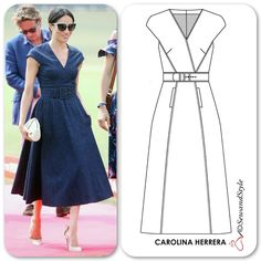 Yes, it is Denim! This is allegedly from the Carolina Herrera Resort 2019 but the dress is not in the official slideshow photos released… Elegant Dresses, Vintage Dresses, Casual Dresses, Fashion Dresses, Skirt Patterns Sewing, Clothing Patterns, Skirt Sewing, Sewing Clothes, Diy Clothes