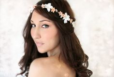 Peach Wedding Tiara Flower Crown. I love these tiaras and hair pieces, they are so delicate and sweet.