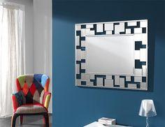 Rectangular Mosaic Framed Contemporary Wall Mirror