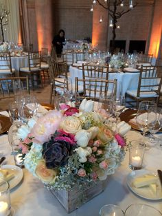 A rustic box of lush flowers for a dinner reception at the Asian Art Museum.