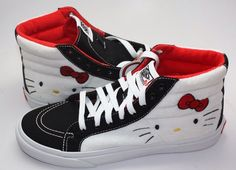 Hello kitty high tops High Top Vans, High Tops, High Top Sneakers, Shoes Sneakers, Hello Kitty Vans, Vans Sk8, Sandals, Fashion, Loafers & Slip Ons