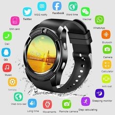 Buy Bluetooth Smart Watch Sports Fitness Tracker SD Card SIM Card Smartwatch Phone Pedometer Sleep Monitor at Wish - Shopping Made Fun Sport Watches, Cool Watches, Watches For Men, Popular Watches, Smartwatch Bluetooth, Smartwatch Waterproof, Waterproof Watches, Upgrade Android, Information Technology